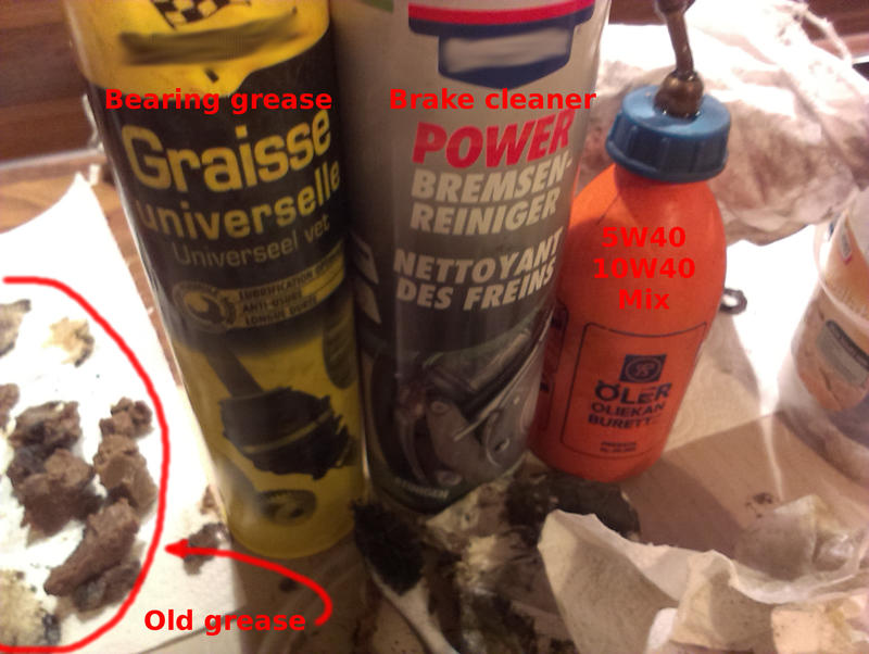 grease, brake cleaner and oil