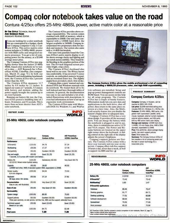 infoworld Compaq Contura 4/25CX review